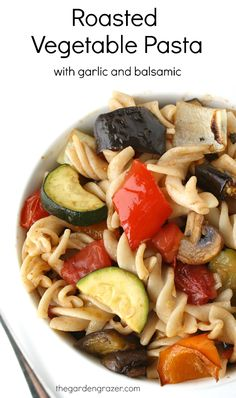 Vegetables roasted to perfection combined with pasta and an easy garlic-balsamic dressing (vegan, gluten-free)