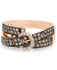 Le Vian 14k Rose Gold Ring, Chocolate (5/8 ct. t.w.) and White Diamond (1/10 ct. t.w.) 2-Row Buckle Ring - Rings - Jewelry & Watches - Macy's