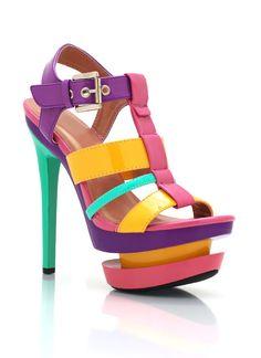 colorblock strappy platform heels $38.80