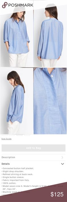 """Vince Skinny Stripe Shirt Top Blouse Blue White New with tags. Perfect condition. No trades.  Approximate measurements: Chest flat across 20.5"""" Length 27"""" (front) Sleeve 23.5""""  Color looks more like stock photos. Vince Tops"""