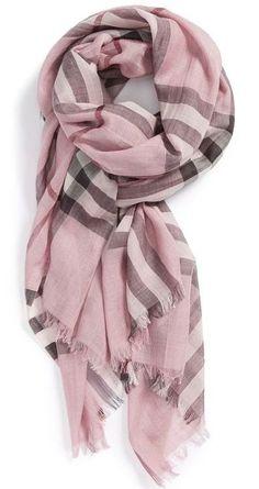Women's Burberry Giant Check Print Wool & Silk Scarf