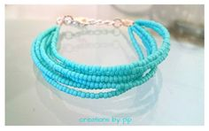 Turquoise Seed Bead Multi Strand Bracelet by CreationsbyPip