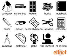 School 1 - Picture Vocabulary Worksheet 1 | EFLnet English Primary School, Learning English For Kids, English Language Learning, Teaching English, English Idioms, English Vocabulary Words, English Lessons, English Grammar, Interesting English Words
