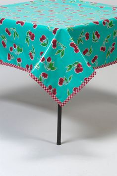 48x84 Aqua Cherry Oilcloth Tablecloth With Red Gingham Trim.  Might Prefer  Red Polka Dot