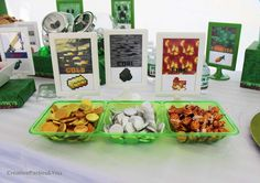 Not digging the coal but I like the fire. Minecraft Themed Birthday Party | CatchMyParty.com