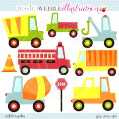 Odd Trucks Cute Digital Clipart Commercial Use от JWIllustrations