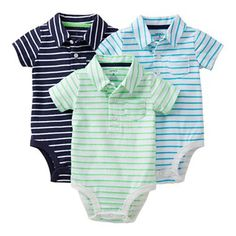 Carter's® Boys 3pk Short Sleeve Collar Pocket Stripe Bodysuit - JCPenney