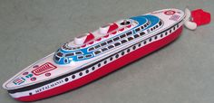 Made in China for Metalmania and circa the About 10 inches long, wind it up and it propels through the water with a steerable rudder. Pedal Cars, Tin Toys, Childhood Toys, Vintage Toys, Cruise, China, Antiques, Water, Toys