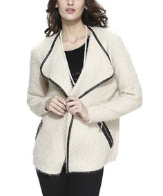 Beige Textured Open Jacket - Women #zulilyfinds