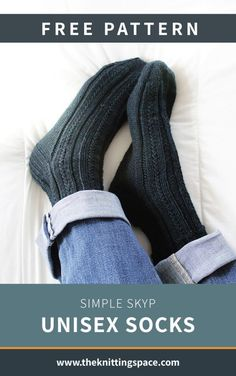 Simple Skyp Unisex Socks FREE Knitting Pattern Craft this simple and versatile knitted unisex socks ideal as a handmade present for family friends and co-workers This pattern includes a free tutorial on Knitted Socks Free Pattern, Crochet Socks, Knitted Slippers, Sweater Knitting Patterns, Easy Knitting, Knitting Socks, Knitting Designs, Knit Socks, Simple Knitting Patterns