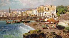 ... <b>Carlo Brancaccio</b> Fishing Boats on the Beach at Marinella Naples Art