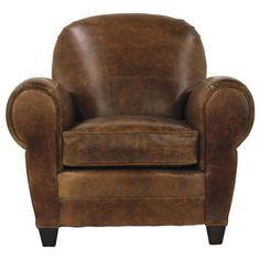 Leather club chair in tobacco with over-sized rolled arms.      Product: ChairConstruction Material: Leather upholster...