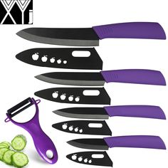 """XYJ ceramic knife set 6""""5""""4""""3"""" inch chef slicing utility paring knife with peeler a set of kitchen knives black cooking tools"""