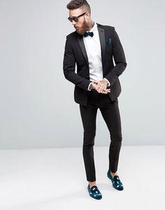 ASOS Super Skinny Tuxedo Suit Jacket In Black at asos.com. Men s ... 493152ba3d778
