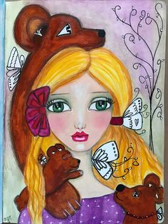 Goldilocks....Ever After 2017 with Tamara Laporte @willowing.org. Large Dylusions journal, neo color ll, acrylics, color pencil, paint pen