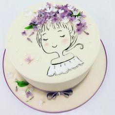 Lilac girl - Cake by Olga Danilova Pretty Cakes, Cute Cakes, Beautiful Cakes, Amazing Cakes, Buttercream Cake, Fondant Cakes, Cupcake Cakes, Fondant Girl, Birthday Cakes For Women