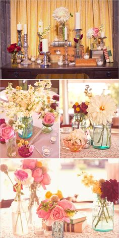 Vintage Anthropologie Inspired DIY Wedding with all the bells and whistles. Including a homemade wedding cake and a fabulous entrance sign. Diy Wedding, Rustic Wedding, Wedding Flowers, Dream Wedding, Wedding Ideas, Wedding Reception Centerpieces, Wedding Decorations, Vintage Centerpieces, Centerpiece Ideas