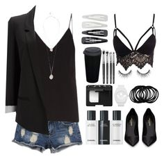 """""""B&W"""" by closet-is-bae ❤ liked on Polyvore featuring Raey, Yves Saint Laurent, Wallis, NARS Cosmetics, adidas, Forever 21, Club L and GUESS"""