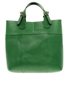 Green leather shopper