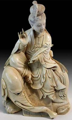 "Shuni mudra, the ""seal of patience"". Guanyin Seated On White Elephant. Late Qing, ca. Art Sculpture, Buddha Sculpture, Buddha Statues, Art Asiatique, Guanyin, Buddhist Art, Bone Carving, Ivoire, Gods And Goddesses"