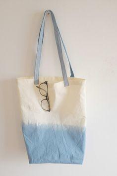 Blue Dip Dyed Tote Bag fabric dye tote bag, summer version bag