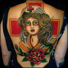 Love this American Traditional back piece. Ekg Tattoo, Tattoo You, Back Tattoos, Love Tattoos, Nurse Tattoos, Steve Byrne, Love Sick, Artists And Models, Inked Magazine