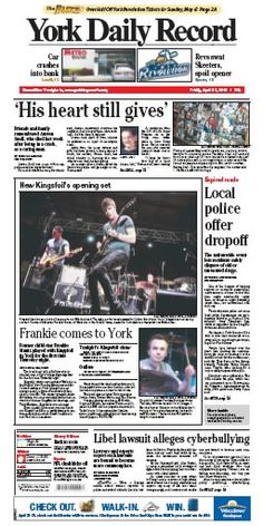 York Daily Record front page April 27