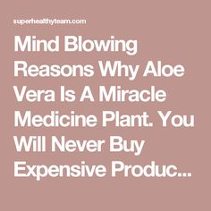Mind Blowing Reasons Why Aloe Vera Is A Miracle Medicine Plant. You Will Never Buy Expensive Products Again! - Super Healthy Team