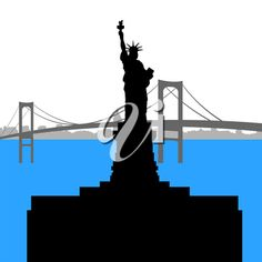 iCLIPART - Clip Art Illustration of the Statue of Liberty with the Bridge in the Background
