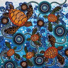 View the largest range of contemporary Aboriginal art and artefacts in Sydney. Dot Art Painting, Mandala Painting, Mandala Art, Aboriginal Art Symbols, Aboriginal Painting, Sea Turtle Art, Indigenous Art, Ocean Art, Native Art