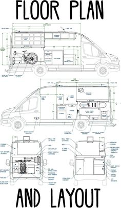 Below are the Floor Plan and Interior Layout of our Ford Transit High Roof, Wheelbase Extended Length, DIY Camper V Bus Conversion, Van Conversion Floor Plans, Ford Transit Camper Conversion, Van Conversion Layout, Diy Van Conversions, Van Conversion Interior, Ford Transit Rv, Camper Van Life, Bus Camper