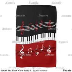 Stylish Red Black White Piano Keys and Notes Kitchen Towel. A cool and eye-catching piano music design featuring in a waving motion in the center with red, black and white musical notes scores above and below in alternating colors.