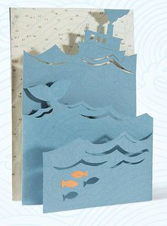 Take Me Out to Sea Card - Craftfoxes 3d Cards, Pop Up Cards, Folded Cards, Cool Cards, Origami And Kirigami, Origami Paper, Arte Pop Up, Paper Art, Paper Crafts