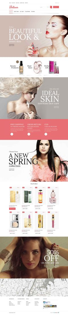 Website: Contemporary Style OpenCart Cosmetics Store Theme (PSD, OpenCart)