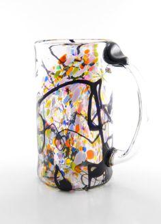 Glass Beer Mug  Hand Blown Art Glass  Black Dribbles by MOODYGLASS, $35.00