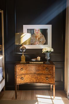 Elements of Style~antique nightstand with modern lamp
