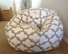 I love this very cool indoor outdoor Bean Bag. It will look equally as fabulous inside and out.  COVER ONLY  Small measures approx 70cm x 65cm when filled and held at the tip. Suits little ones up to about 6 years. Medium measures approx 85cm wide and 90cm high. Suits children up small Adults. The Large measures approx 95cm wide x 105cm high when filled with the beans and held at the tip of the bag to take the measurements. Suitable for teenagers to larger adults  What a great way to relax…