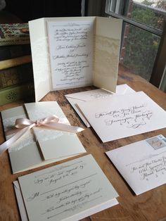 Calligraphy Wedding Invitation Gatefold with by DesignsByRobynLove