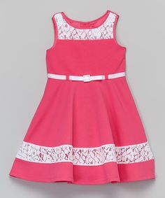 Love this Pink & White Lace Dress - Toddler & Girls by Youngland on #zulily! #zulilyfinds