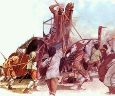 Ajax defends the Achaean Ships at Troy, c. Artwork by Peter Connolly. Mycenaean, Minoan, Ancient Troy, Greco Persian Wars, Sea Peoples, Bronze Age Civilization, Greek Warrior, Atlantis, Trojan War