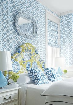 Thibaut Alston Trellis wallpaper and fabric, Sulu fabric on headboard from their Monterey Collection (2013)