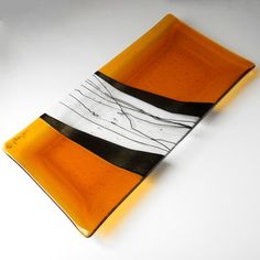 #Amber Fused #Glass #Platter with Iridized Black Accents, 14 x 7 Inches