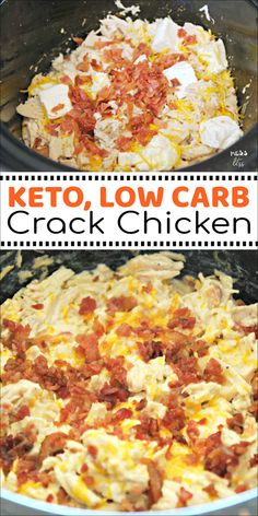 This Crack Chicken in the Crock Pot is keto friendly and low carb. But you dont have to follow a low carb lifestyle to enjoy it. The whole family will love this creamy, cheesy chicken dish. #keto #lowcarb #crockpot #slowcooker #crackchicken