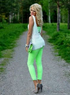 Outfit green bright  blonde hair