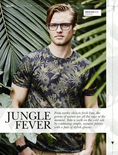 Go wild with a bold botanical print and blue specs – so on-trend this season.