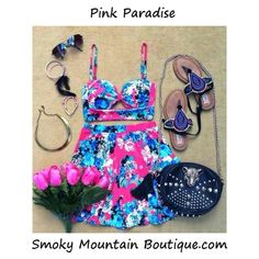 Pink Paradise Matching Top and Skirt with Adustable Straps (Pink Floral Design) - Smoky Mountain Boutique