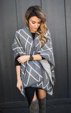 Ily Couture Diamond Cape - Grey