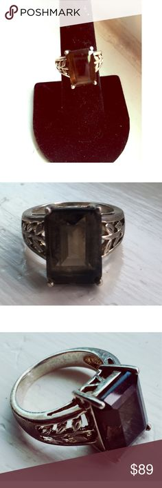 Vintage Sterling smoky Quartz ring Beautiful estate sale find! Large, dense & sparkling smoky Quartz ring is made of Solid .925 sterling silver & made sometime in the 1930's. This is a stunner...very slight wear, this has history & it adds to the vintage beauty, it's one of a kind! ✨NO! PP/NO! TRADES/other sites❌ reasonable offers accepted via offer option 🌹size 7 ring. Jewelry Rings