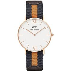 Daniel Wellington Grace Selwyn Mixed Strap Watch ($229) ❤ liked on Polyvore featuring jewelry, watches, mustard, water resistant watches, quartz movement watches, bezel jewelry, daniel wellington and bezel watches