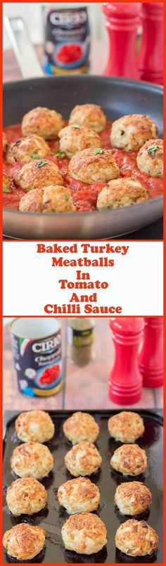 You'll love this delicious baked turkey meatballs in tomato and chilli sauce recipe. Not only is lean turkey mince often cheaper than beef, but baking instead of frying these turkey meatballs makes them a much healthier alternative too. This super easy quick healthy meal for four can be on the table in just one hour!